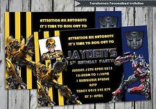 Transformers Personalised Invitations Cards Birthday Invites Bumblebee Optimus