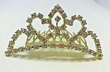 Vintage Gold Diamante Crystal Tiara Hair Band Clip Comb Wedding 1980'