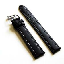 20mm SMOOTH Black Leather Extra Long Watch Band Strap W/White stitching