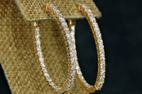 2 CT Round Cut White Diamond 14k Solid Yellow Gold Over Engagement Hoop Earrings