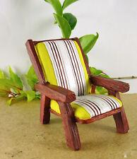 Dollhouse Miniature Fairy Garden Yellow Stripe Patio Chair