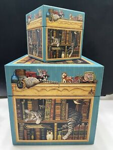 2 Charles Wysocki Cats art nesting style decorated boxes , gift boxes