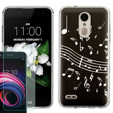 TPU Case for LG Rebel 4 LTE / Risio 3 + Tempered Glass - Music Notes / Black