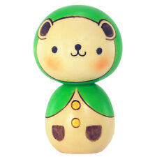 Japanese Usaburo Kawaii Bear w/ Green Hood Kokeshi Wooden Doll, Made in Japan