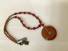 Goldstone Necklace Eternity Circle With Copper Bead & Carnelian Bead Accents NW
