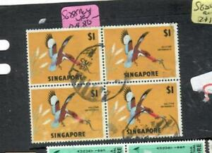 SINGAPORE (P0902B)  QEII  BIRD  $1.00       BL OF 4  SG 88        VFU