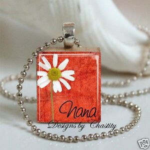 Godmother Necklace Scrabble Altered Art Charm Pendant Red Floral White Daisy