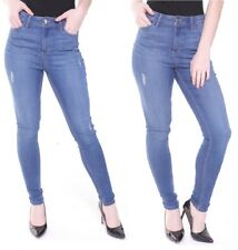 Womens High Waisted Skinny Denim Distressed Ripped Jeggings Jeans UK6-18 Ladies