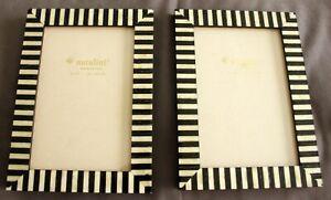 "2 Natalini Italian Black & Ivory Marquetry Photo Frames 4"" x 6"" Free Standing"