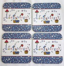 4 Longaberger Basket Coasters Summer Starburst Stars Watermelon Country New