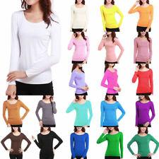 Damen Langarm T-Shirt TShirt Bluse Rundhalsausschnitt Basis Shirt Unifarbe Top