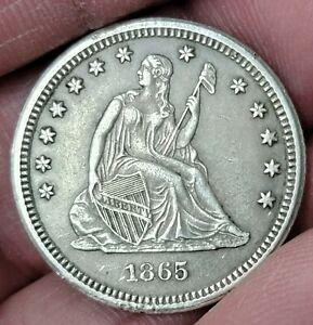1865-S Seated Liberty Quarter 25c 90% Very Rare Key Date CIVIL WAR ERA  AU!!