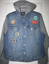 """Torrid"" Hooded Denim Jacket~Vintage Style~Patches~2~NWT"