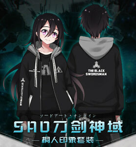 Anime Sword Art Online SAO Autumn Hooded Hoodie Coat Ribbon Casual Pants Cosplay