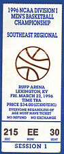 1996 NCAA DIVISION I Southeast Regional Basketball Stub Rupp Arena