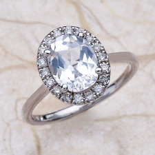 14k White Gold 9 x 7mm White Natural Sapphire Oval Engagement Ring