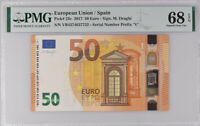 Euro 50 Euro Spain 2017 P 23 V Prefix Superb Gem UNC PMG 68 EPQ High