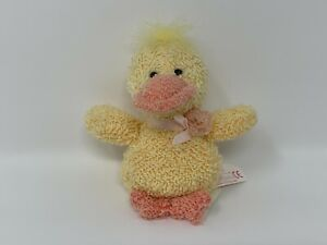 """Russ Mini """"Home Buddies""""  3"""" Terry Cloth Yellow Duck w/ Pink Bow NOS #32"""