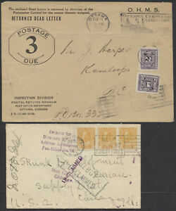 1926 POD Returned Dead Letter Cover With Kamloops BC Cover Returned From USA