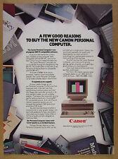 1985 Canon Personal Computer IBM compatible 8086 PC vintage print Ad
