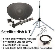 Sky Q satellite 60cm zone 1 dish LNB tripod camping caravan Touring  KIT Outdoor
