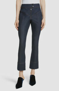 New $155 Cinq A Sept Women's Blue Kirim Straight Exposed Zip Denim Jeans Size 10