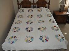 """Vintage Handmade Dresden Plate Quilt~72"""" x 85""""~Full~Cotton Comforter ~Lovely!"""