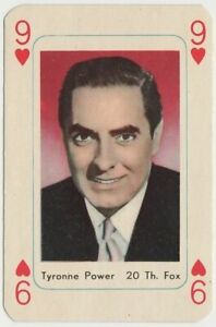 Tyrone Power vintage 1950s Maple Leaf Playing Card of Film Star