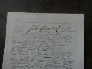 1834 Engraving of Declaration of Independence, Signature page