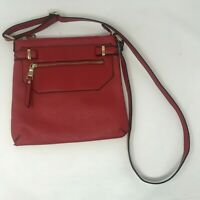 Aldo Red Crossbody Bag Purse Gold Accents Faux Leather Pre-Owned Free Shipping