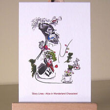 ACEO card covered in pictures of six WDCC Alice in Wonderland characters