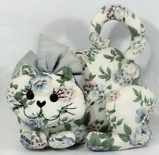 French Country Cottage Chic Floral Fabric Stuffed Cat Boudoir Decor Pillow