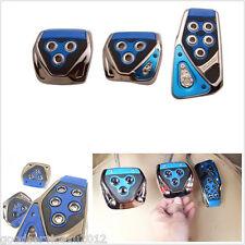 3 Pcs DIY Blue & Black Manual Transmission Autos Foot Brake Nonslip Pedal Covers