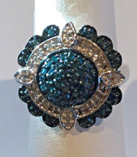 3/4 Ct. Blue Diamond Halo Ring Platinum, .925 Sterling Silver Size 6