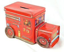 Collectible Little Red Fire Truck Tin Fire Engine Tin Bank 2 Compartments