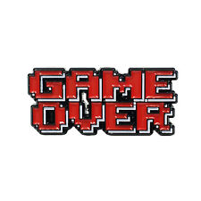 Game Over Pixelated Nerdy Game Heady Enamel Festival Hat and Lapel Pin Badge