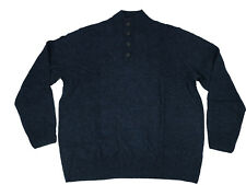 Dickies Mens Sweater 2XB Big Tall Blue Solid Jersey Button Mock Long Sleeve Wool