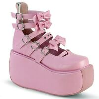 "Demonia Pink 3.5"" Platform Strappy Mary-Jane Shoes w/ Back Zip 6 7 8 9 10 11 12"