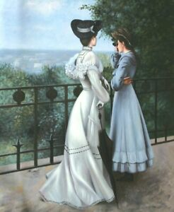 """24""""x 20"""" Oil Painting on Canvas, Two Ladies on the Terrace, Hand Painted"""