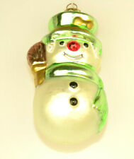 """3D GLASS 5"""" SNOWMAN CHRISTMAS ORNAMENT WITH BROOM GREEN HAT & SCARF FROM POLAND"""