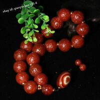 Fine China Red Agate Hand Carved Ruyi Prayer Beads Bracelet Bangle Handle Piece