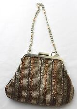 LIZ CLAIBORNE SMALL BEADED CLUTCH SILVER BROWN COCKTAIL PURSE PARTY*