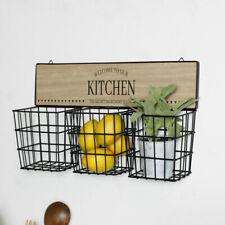 Rustic Basket Wall Storage vintage farmhouse country utensils herbs cutlery
