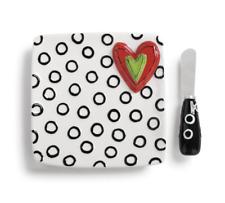 Demdaco Heart Dots Plate & Spreader Set Tracy Peche 1004380013 Heartful Home NeW