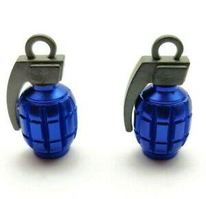 2x Blue Quality Grenade Alloy Metal Valve Dust Caps for motorbikes BMX Bike Car
