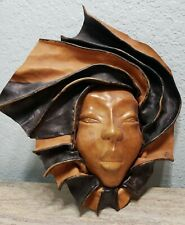 Vintage Leather Woman Face Wall Hanging Tribal African Art Sculpture