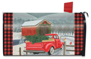 Festive Covered Bridge Christmas Large Mailbox Cover Red Pickup Truck Oversized