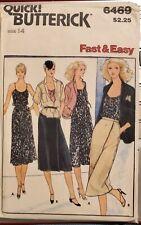 Vtg Butterick fast & easy pattern 6469 Misses' Jacket, Blouse, Dress sz 14 uncut