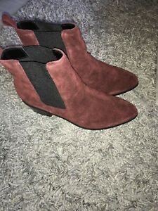 Asos burgundy suede leather ankle boot 4 BNIB