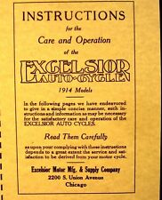 1914 Excelsior Auto-Cycle Manual Instructions Care & Operation